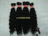 "free shipping 3pcs/lot high quality  virgin  brazilian hair deep wave hair weaving color #1b 16""~30"""