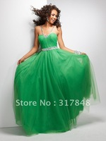 Glamorous modern freeshipping emerald green ruffle beading straight chiffon summer cool prom gown evening party dresses ED306