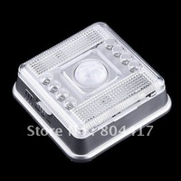Wholesale and Retail!!! Free Shipping New Sale 1Pcs 8 LED Light PIR Auto Sensor Motion Detector with  AA Battery
