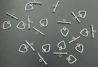 100 Sets Tibet Silver Heart Toggle Clasps 0137
