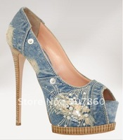 new style Fashion women's shoes blue High heels size:35-41