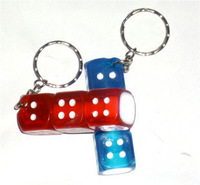 Free shipping! Toy novelty gift exquisite dice style belt led lighting keychain key ring night market