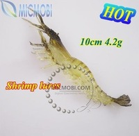 50pcs/lot [10cm, 4.2g] Soft Fishing lure Artifical shrimp PRAWN bait For Fishing Freeshipping HK/CA Post (KF-56)