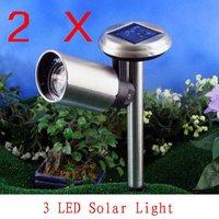 2X Solar Power Hanging cylinder Lanterns 3LEDs Landscape Path street outdoor Light