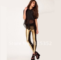 Holiday sale Style Women Leggings Sexy PU Color Block Plus Size Trousers Capri pants  Render pants Casual Bottoming  pants