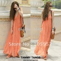 Summer fashion beach dress bohemia pleated  V-neck strapless chiffon full dress one-piece dress