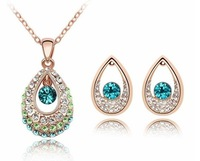 Super Price Fashion Jewelry Set/1 Piece Necklace +1Pair Earring Water Drop 3Colors High Quality Free Shipping