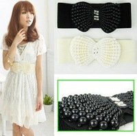 Fashion Designer Women's and Girls Wide  Weave Waist Belt With Pearl Bowknot Decoration,10 Pcs/Lot+Free Shipping