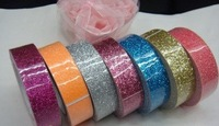 Free Shipping! Lovely DIY adhesive Christmas glitter ribbon tape, mixed order 8 different designs/colors