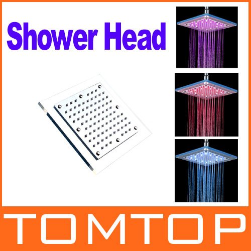 Square LED Shower Head Copper Brass Glass Temperature Sensor 3 Color Sprinkler Freeshipping Dropshipping wholesale(China (Mainland))