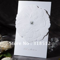 Snow White  Handmade Wedding Card With Flower  ,Wedding Gifts and Favor , Free wording Printing