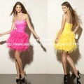 New Fashion DA355 Ball Gown Sweetheart Short Ruffles Skirt Cocktail Dress 2012 Hot Pink