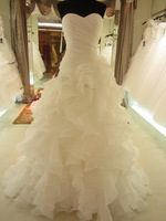 2012 Hot Sale Real Picture Organza Ruffle Wedding Dress/Bridal Gown sl-7070