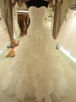 2014 Hot Sale Real Picture Organza Ruffle Wedding Dress/Bridal Gown SL-7070