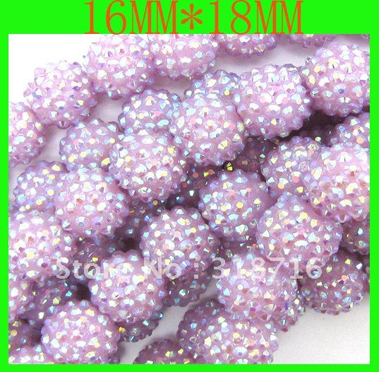 Free Shipping! !Fashion rhinestone string shamballa ball beads!! 18MM!! Loose resin rhinestone pave disco beads!!(China (Mainland))