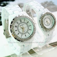 Free ship 5 pears /lot ceramic with wrist diament quartz watch for lovers