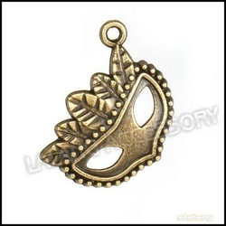 Fashion 90pcs/lot Wholesale New Design Mask Shape Alloy Pendants Ancient Bronze Charms Fit European Jewelry Necklace DIY 142327(China (Mainland))