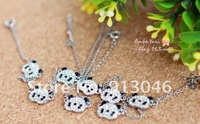 Free shipping/Fashion lovely full drill baby panda collarbone necklace