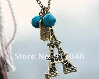 Free shipping/Delicate archaize of the Eiffel Tower long necklace sweater chain