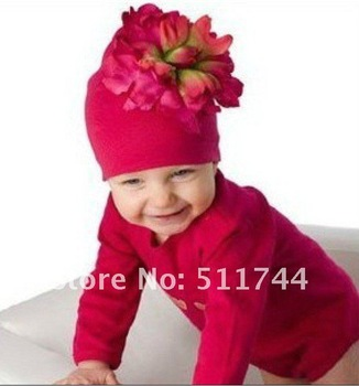 Top Baby hats baby hat Christmas hats baby beanie infant big flower Knitted cotton caps girl caps 30pcs