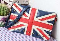 Women UK Flag Union Handbag Shoulder Bag, ladies' fashion rivets UK flag shoulder bag free shipping