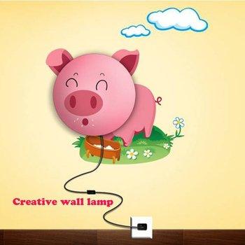 DIY wall lamp Fun atmosphere creative cartoon tracery wall lamp light pink pig design free shipping