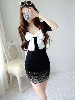 Free shippping 2012 New Hot Design Japan/Korean Mini Skirt Women's fashion bow tie short/Long sleeve mini skirt/dress X2138