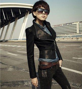 Women's Fashion Korea short  Leather Jacket, Ladies' black  leather Jacket Coat Fur Clothing  Free shipping