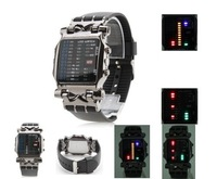Hot Sales Cool 21 Colorful LED Digital Binary Wrist Men Women LED Watches Black FREE SHIPPING + Dropship