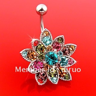 Hinge Banana Crystal Petal Flower Navel Belly Ring C1801(China (Mainland))