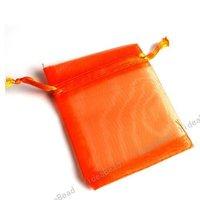Hot Sale 200pcs Wedding Gift Orange Organza Pouches Bags presant Candy Bags 70*90mm 120290