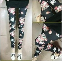 DDK-001 Free Shipping!Hot Sales!Style Imiation Jeans Material Rose Leggings for Women Lady Punk Black and Beige Pants(130G)