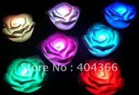 100pcs/lot Romantic living seven color changing LED rose lamp tea lights LED Rose Flower Candle lights led christmas lights
