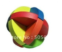 Free shipping of Rainbow Globe Ball Wood Construction Puzzle BrainTeaser