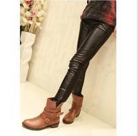 DDK-051 New Fashion Knitting Leggings Front Leather Back Cotton Knitted Flexible Pants Women Wholesale(160g)