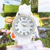 free shipping Fashion Geneva white Silicone Watch Full Crystal Women quartz Watch KZ023