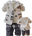 4 Sets/lot Fashion style baby clothing set shirt+ pant +coat  boys clothes sets high quality best price infant suits wholesale