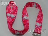 New Soft 100% polyester red hello kitty lanyards with flower for ID holder,MP3/4/5 player +FREE SHIPPING