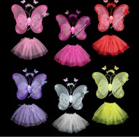 Free shipping - Costume party supplies Magic wand + Head hoop+butterfly wings+party dress wholesale