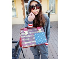 Free shipping+New Arrive Fashion USA Flag Vintage Style PU Leather Handbags Shoulder Women Lady bag Good Quality