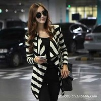women irregular Without button Fashion stripe jacket Blazers one size