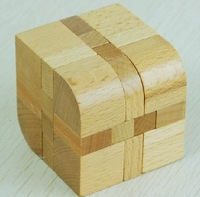 Free shipping of  Leaf Cube Wood Construction Puzzle Wooden Brain Teaser