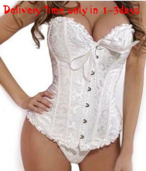 Sexy white  plus size  body shaper  Lace up boned  Corset  Bustier  clubwear   +G-string  XS-6XL