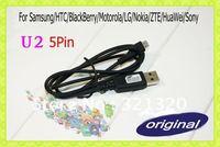 Free Shipping 10pcs/lot 100%Original U2 5 Pin Micro USB Cable For Samsung/HTC/BlackBerry/Motorola/LG/Nokia/ZTE/HuaWei/Sony