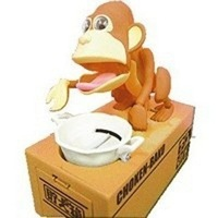 Freeshipping by CPAM new arrival Automated monkey steal coin piggy bank / saving money box / coin bank / money bank / kids gift