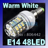 Free Shipping E14 LED Bulb SMD3528 48 LEDs LED Spot Light Lamp Warm White 200-240V