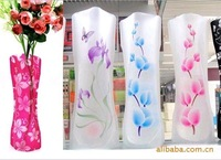 Fedex Free Shipping Wholesale Fashion Foldable Plastic Vase / PVC Prints Flower Vase G295