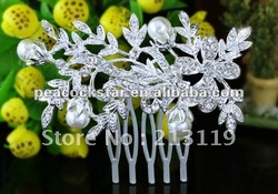 Bridal Wedding Party Quality Flower White Pearl Crystal Hair Comb CT1339(Hong Kong)