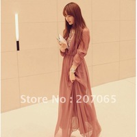 Long Sleeve V-neck Chiffon Maxi Dress, Bohemia Full Dress,Women Dress  SIZE S,M,L   2 color Free Shipping