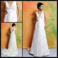 WG-A030 Sheath V-neck Straps Cap Sleeve Court Train Chiffon Wedding Dress